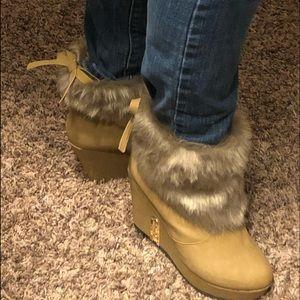 Shoes - Faux fur trim booties